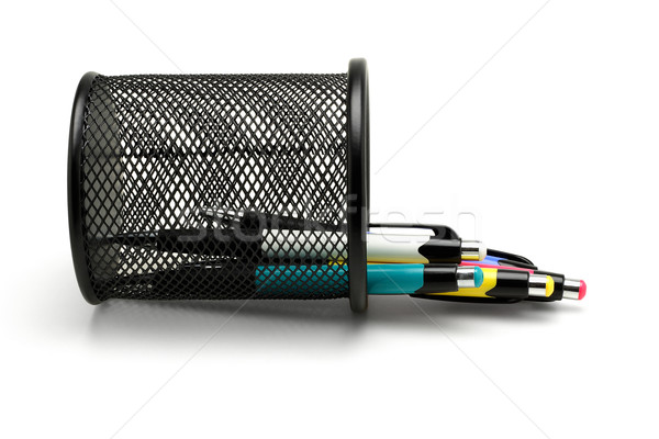 Colorful ball point pens spilled from fallen holder Stock photo © dezign56