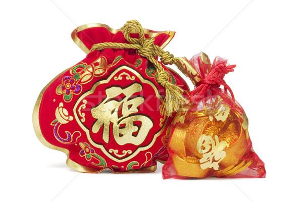 Kettő kínai új év ajándék szatyrok arany táska Stock fotó © dezign56