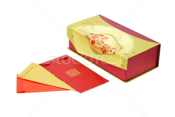 Китайский Новый год красный шкатулке белый деньги фон Сток-фото © dezign56