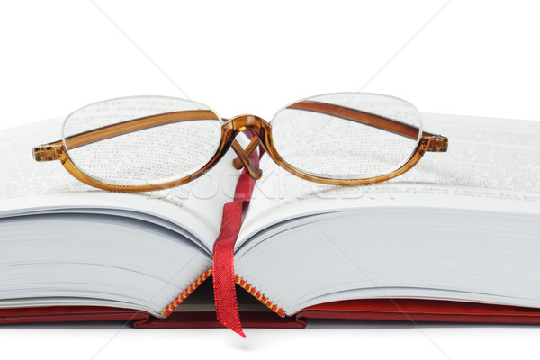 Olvasószemüveg könyv fehér információ műanyag lencse Stock fotó © dezign56
