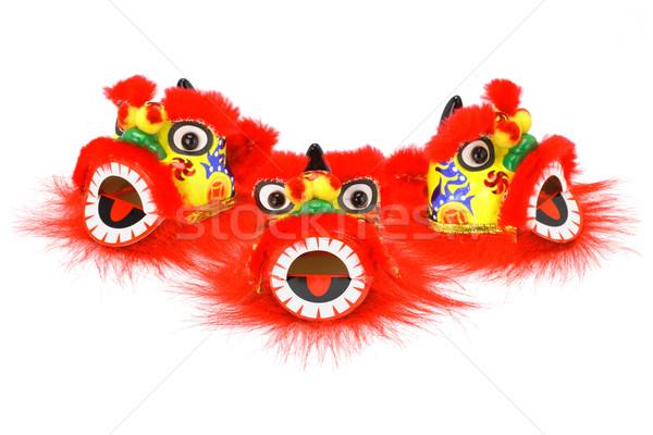 Kínai új év oroszlán fej díszek három csoport Stock fotó © dezign56