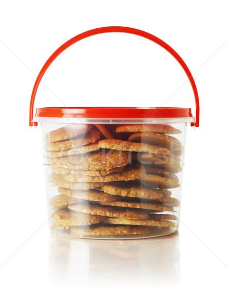 Sütik műanyag tároló fogantyú fehér desszert konténer Stock fotó © dezign56
