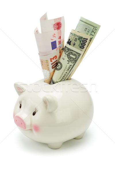 Persely világ valuta jegyzetek fehér pénz Stock fotó © dezign56