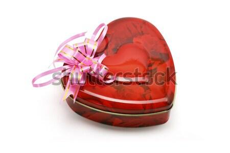 Szív alakú ajándékdobozok étel szeretet cukorka Stock fotó © dezign56