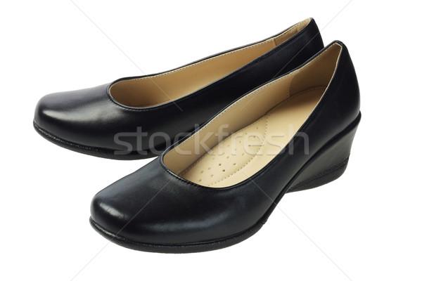 Fekete bőr cipők fehér divat szín Stock fotó © dezign56