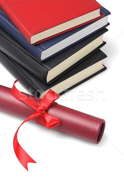 Texto livros rolar recipiente branco Foto stock © dezign56