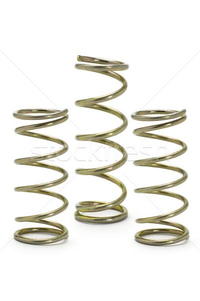 Három fém tavasz izolált fehér csoport Stock fotó © dezign56