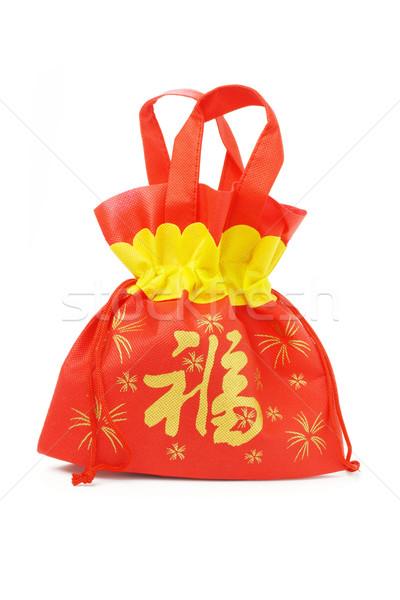 Ano novo chinês dom saco branco textura vermelho Foto stock © dezign56