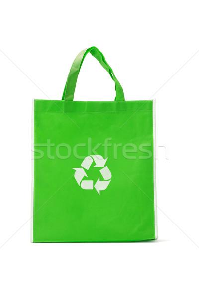 Stockfoto: Groene · boodschappentas · recycleren · symbool · witte