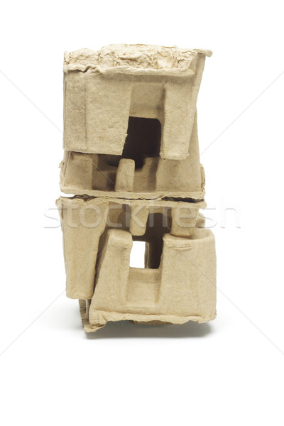 Stack of molded paper packing protectors Stock photo © dezign56