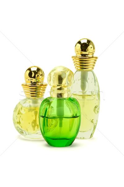 Három üvegek parfüm üveg fehér ajándék Stock fotó © dezign56