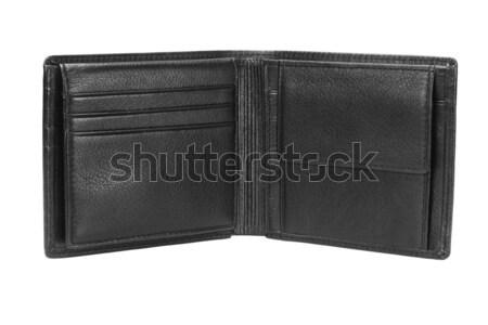Bőr pénztárca üres fekete fehér kártya Stock fotó © dezign56