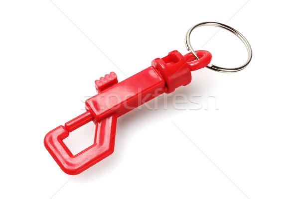 Gemkapocs kulcstartó műanyag fehér lánc gyűrű Stock fotó © dezign56