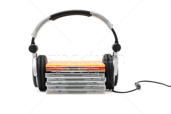 Stereo headphone and compact dics Stock photo © dezign56