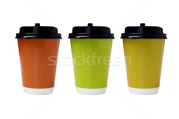 Сток-фото: одноразовый · бумаги · цвета · зеленый · Кубок