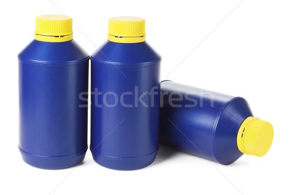 Mavi plastik şişeler beyaz sanayi yağ Stok fotoğraf © dezign56