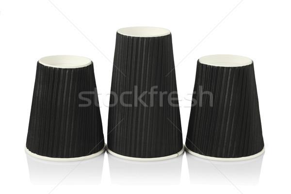 Eldobható fekete papír csészék három feketekávé Stock fotó © dezign56