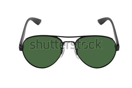 Сток-фото: черный · Солнцезащитные · очки · зеленый · объектив · кадр · белый