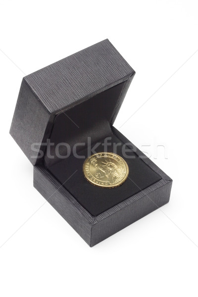 US one dollar coin in black gift box Stock photo © dezign56
