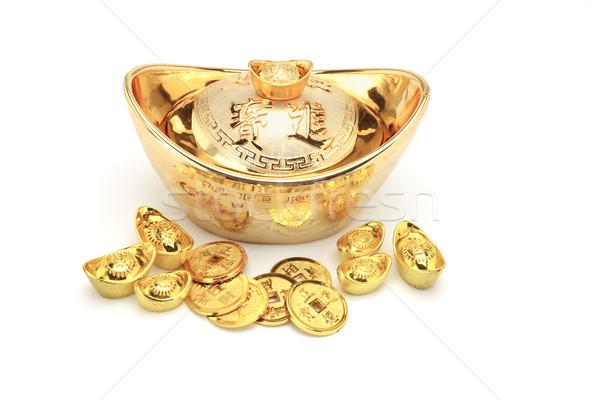 Kínai új év arany érmék dísz fehér pénz fém Stock fotó © dezign56