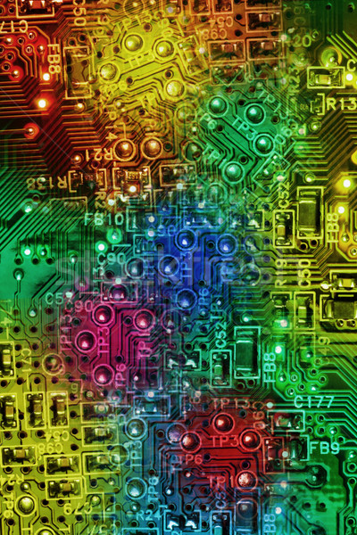 Multi Colours Abstract Electronic Circuit Background Stock photo © dezign56