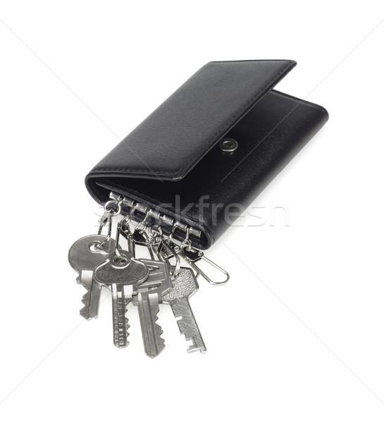 кожа кошелька ключевые цепь черный белый Сток-фото © dezign56