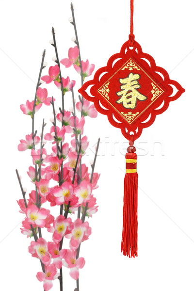 Chinese new year traditional ornaments and plum blossom Stock photo © dezign56