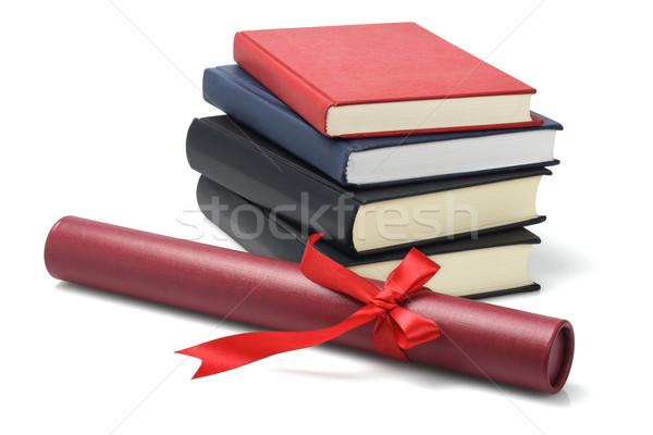 Graduação texto livros rolar recipiente Foto stock © dezign56