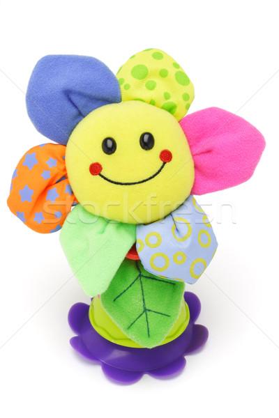Girasol cara sonriente muneca blanco flor textura Foto stock © dezign56