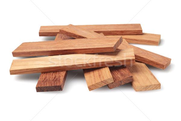 Madeira peças branco construção grupo piso Foto stock © dezign56