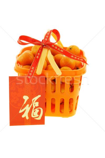 Mandarim laranjas dom ano novo chinês vermelho cesta do presente Foto stock © dezign56