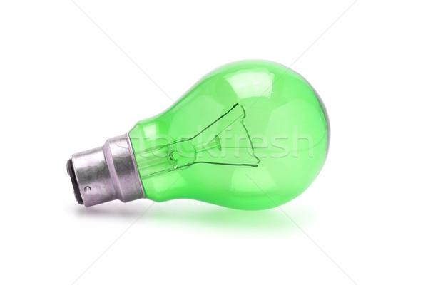 Yeşil tungsten ampul beyaz renk elektrik Stok fotoğraf © dezign56