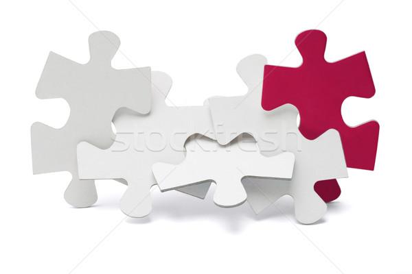 Csapatmunka kirakós játék darabok áll fehér csoport Stock fotó © dezign56