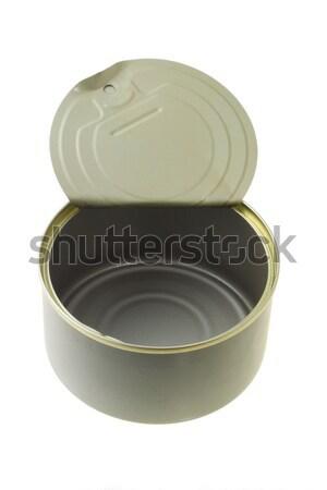 Abierto vacío estaño pueden blanco alimentos Foto stock © dezign56