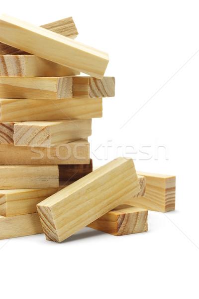 Fából készült tömbházak boglya fehér épület fa Stock fotó © dezign56