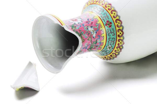 Törött kínai váza kerámia fehér művészet Stock fotó © dezign56