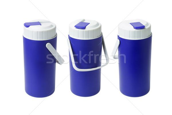 Сток-фото: три · синий · пластиковых · воды · бутылку · цвета