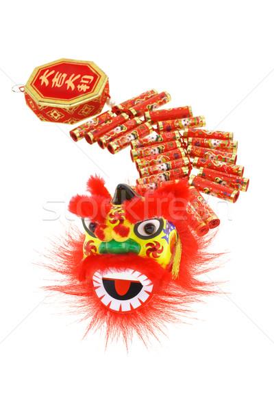 китайский лев голову огня украшения Китайский Новый год Сток-фото © dezign56