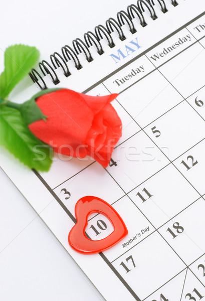 Anneler gün kalp şekli işaretleyici takvim sayfa Stok fotoğraf © dezign56