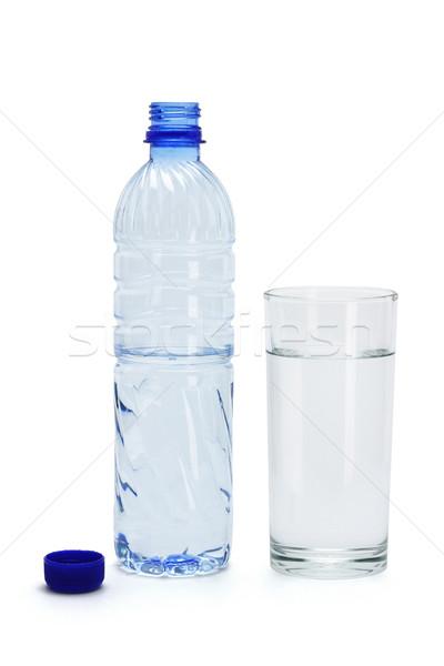 Woda mineralna szkła butelki otwarte plastikowe biały Zdjęcia stock © dezign56