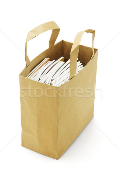 Könyvek izolált fehér táska szín tárgy Stock fotó © dezign56