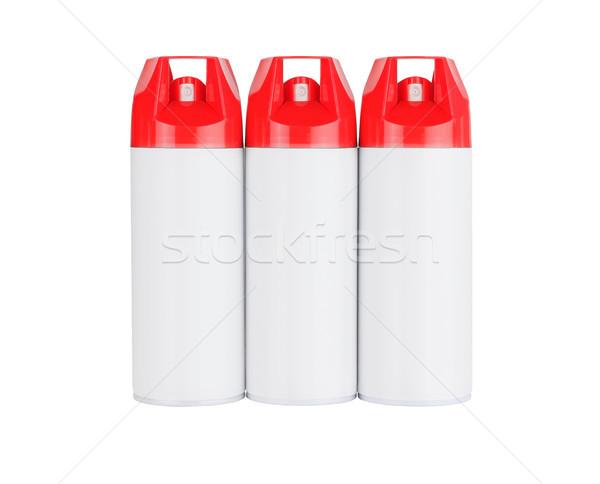 Tres aerosol rojo químicos cosméticos Foto stock © dezign56