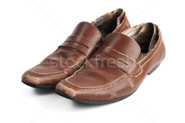 старые коричневый кожа обувь пару используемый Сток-фото © dezign56