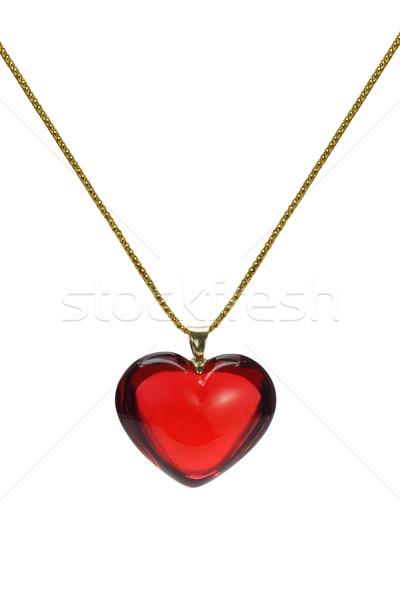 Miłości kształt serca kamień szlachetny czerwony złota łańcucha Zdjęcia stock © dezign56
