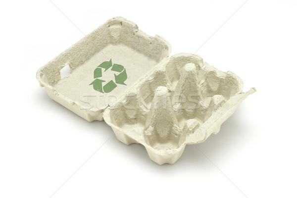 リサイクル シンボル 卵 カートン 孤立した 白 ストックフォト © dezign56