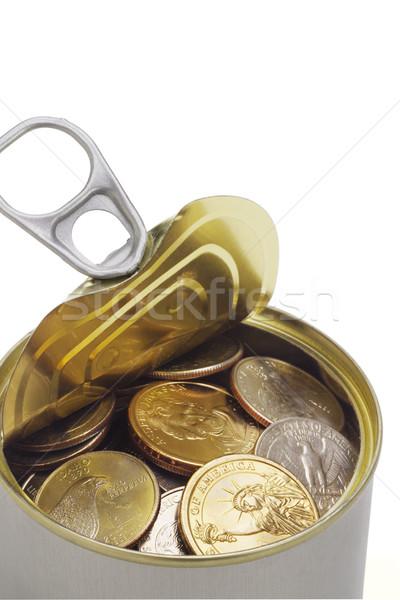 Pièces ouvrir étain peuvent argent Photo stock © dezign56