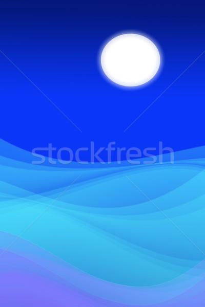 Luna piena notte mare abstract luminoso acqua Foto d'archivio © dezign56