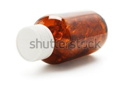 открытых стекла бутылку фон оранжевый таблетки Сток-фото © dezign56