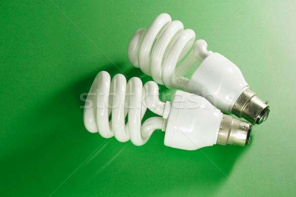 Foto d'archivio: Energia · lampadine · verde · luce · sfondo