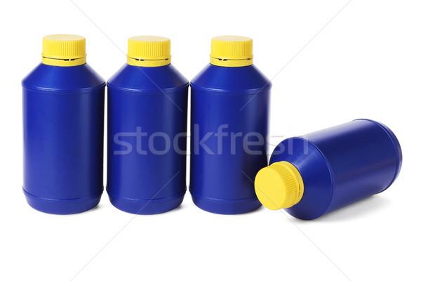 Rij Blauw plastic flessen witte industrie Stockfoto © dezign56